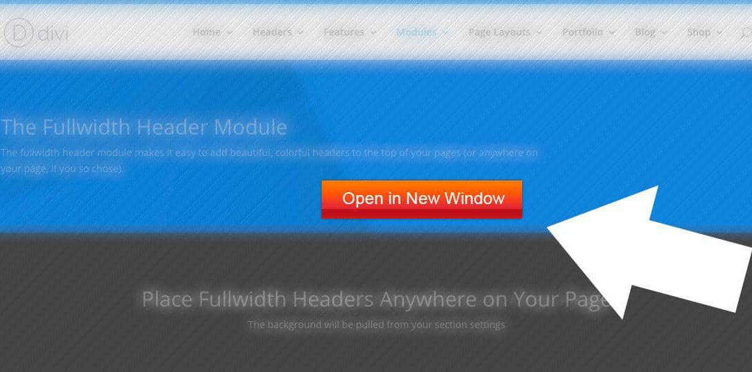 Divi Theme | Open Fullwidth Header Button Links In New Window